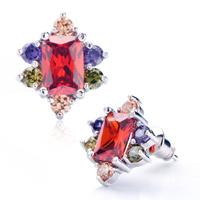 Colorful Crystal Red Floral Stud Earrings