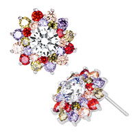 Sparkle Multicolor Crystal Flower Floral Silver P Stud Earrings
