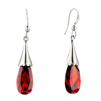 July Red Becket Droplet Swarovski Crystal Dangle Earrings