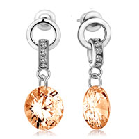Droplets Dangle Novermber Champagne Swarovski Crystal Circle Earrings