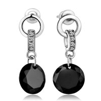 Droplets Dangle Black Crystal Circle Earrings