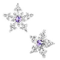 Snowflake Alexandrite Amethyst Rhinestone Swarovski Crystal Stud Earrings