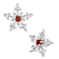 Snowflake Light Red Rhinestone Swarovski Crystal Stud Earrings