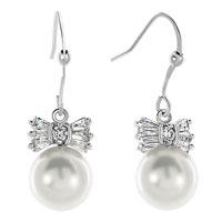 Clear White Rhinestone Swarovski Crystal Bowknot Dangle Shell Freshwater Cultured Pearl Earrings