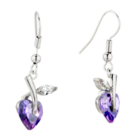 February Purple Flower Leaf Swarovski Crystal Dangle Earrings