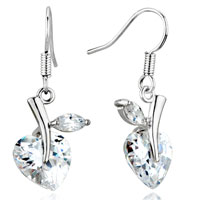 April White Clear Heart Crystal Drop Earrings