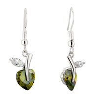 May Green White Clear Flower Leaf Swarovski Crystal Dangle Earrings