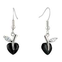 Black White Clear Heart Shaped Leaf Dangle Swarovski Crystal Earrings