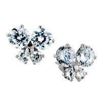 White Clear Swarovski Crystal Butterflystud Earrings
