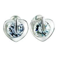 White Clear Swarovski Crystal Heart Stud Earrings