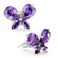 February Purple Swarovski Crystals Butterfly Stud Earrings