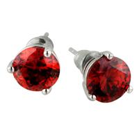 January Deep Red Crystal Waterdrop Earrings