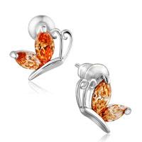 Yellow Flying Butterfly Citrine Crystal Stud Earrings For Women