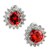 July Red Shinning Sunflower Swarovski Crystals Framed Murano Glass Stud Earrings