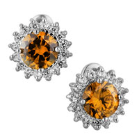 November Yellow Shinning Sunflower Swarovski Crystal Framed Murano Glassstud Earrings