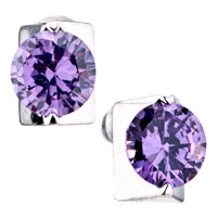 Purple Amethyst Crystal Stud Earrings For Women