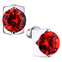 Red July Birthstone Crystal Stud Earrings