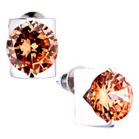 Orange Red Crystal Stud Earrings