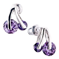 Purple Amethyst Cherry Crystal Stud Silver Earrings For Women