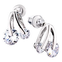 Clear Crystal Cherry Stud Earrings For Women