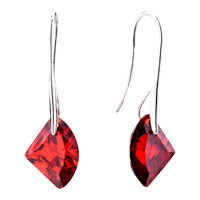 Diamond Shaped Red July Crystal Dangle Earrings