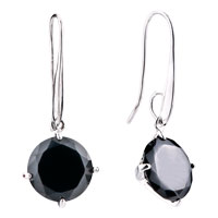 Round Black Crystal Dangle Earrings