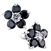 Black Crystal Flower Stud Earrings