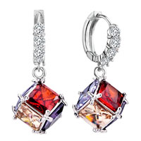 Red Yellow Square Crystal Leverback Earrings