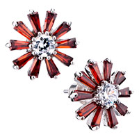 Red Daisy Crystal Stud Earrings