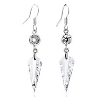 April Clear Wedge Crystal Birthstone Earrings