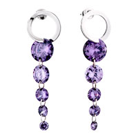 Purple February Dangling Linked Crystalstud Earrings