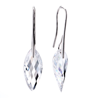 Sterling Silver Crystal Leaf Dangle Earrings