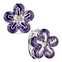 Elegant February Birthstone Shimmering Crystal Flower Stud Earrings