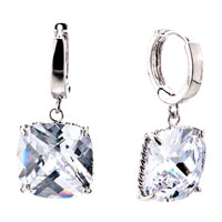Fashion Clear Bling Crystal Dangle Silver Plated Earrings For Women