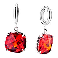 July Birthstone Square Dangle Crystal Earrings