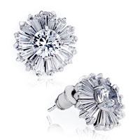 White Crystal Daisy Stud Earrings Gift