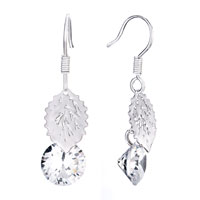 Leaf White Crystal Dangle Earrings Gift