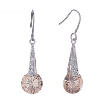 Tower Dangle Peach Crystal Earrings