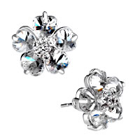 Classy Flower White Crystal April Birthstonestud Earrings Gift