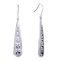 Fine Drop White Crystal April Birthstone Dangle Earrings Gift