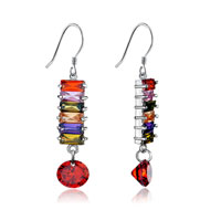 Colorful Crystal Square Linked Dangle Earrings