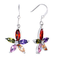 Fancy Colorful Crystal Flower Dangle Hook Silver Plated Earrings
