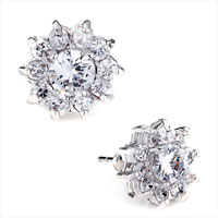 Clear Crystal Flower April Birthstone Stud Earrings Gift