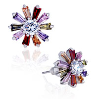 Colorful Crystal Floral Stud Earrings