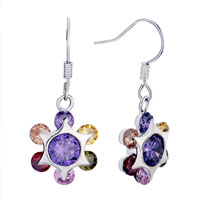 Colorful Crystal Flower Dangle Earrings