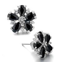 Black Swarovski Crystal Flower Stud Earrings Re