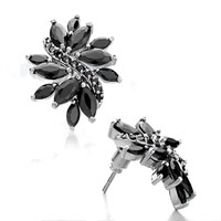 Fashion Black Crystal Petal Stud Silver Plated Earrings For Women