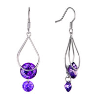 Fine Febraury Birthstone Amethyst Swarovski Crystal Angel Drop Sale Earrings