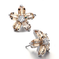 Fashion November Birthstone Light Topaz Crystal Flower Stud Earrings