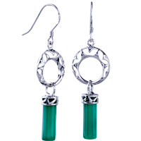 Pattern Circle Green Agate Dangle Earrings 925 Sterling Silver